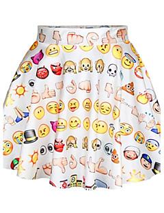 pinkqueen® kvinners spandex søte Emoji trykt plissert skjørt