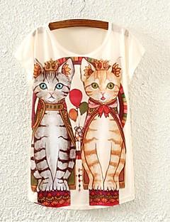 Nais- Lyhythihainen Ohut Kesä T-paita,Color Block Valkoinen