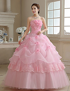 Princess/Ball Gown Wedding Dress - Blushing Pink Floor-length Strapless Organza