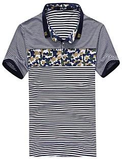 Men's Short Sleeve Polo , Cotton/Polyester Casual Striped