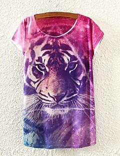 Enfärgad Kortärmad T-shirt Kvinnors Rund hals Bommulsblandning