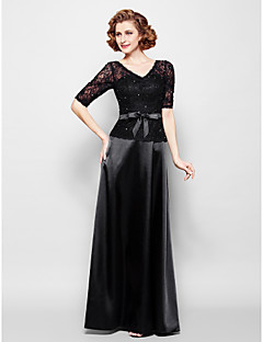 Lanting Sheath/Column Plus Sizes / Petite Mother of the Bride Dress - Black Floor-length Half Sleeve Lace / Stretch Satin