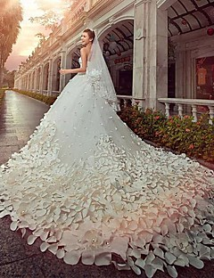 A-line / Princess Wedding Dress Cathedral Train Strapless Satin / Tulle with Beading
