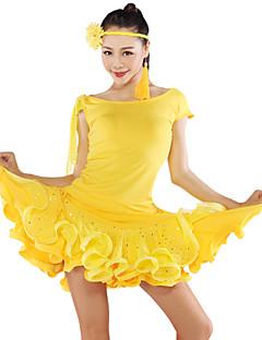 Latinské tance Vrchní část oděvu tutu a sukně Dámské Výkon Tyl Süt Filtresi 2 kusy Krátké rukávy horní a dolní část) SukněS:38 M:39 L:40