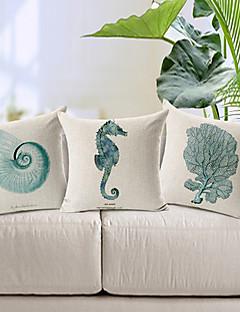 lot de 3 moderne animal marin de style à motifs coton / lin taie d'oreiller décoratif