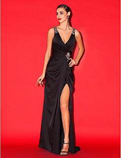 TS Couture Formal Evening Dress - Black Sheath/Column V-neck Sweep/Brush Train Satin Chiffon