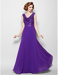 A-line Plus Sizes / Petite Mother of the Bride Dress - Regency Floor-length Sleeveless Sequined / Georgette