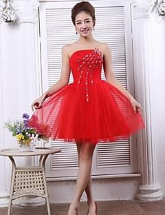thuiskomst avondjurk a-lijn strapless korte / mini tule jurk