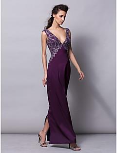 Formal Evening Dress - Grape Plus Sizes / Petite Sheath/Column V-neck Floor-length Satin