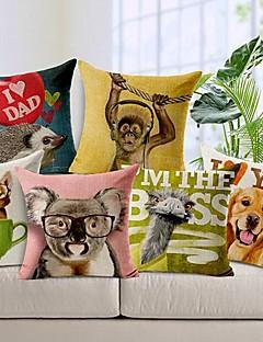 ensemble de six animaux impression coton / lin taies d'oreiller décoratif