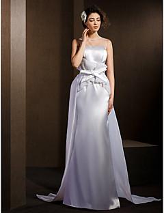düğün-line / prenses mücevher süpürme / fırça tren organze, streç saten elbise elbise