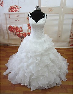 A-line Court Train Wedding Dress -V-neck Organza