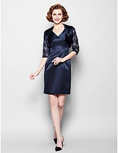 Sheath/Column Mother of the Bride Dress - Dark Navy Short/Mini 3/4 Length Sleeve Lace/Satin