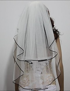 Two-tier - Ribbon Edge Elbow Veils ( White/Ivory , Ribbon )