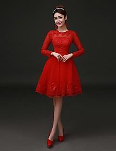 שמלת מסיבת קוקטייל - סקסי a- קו תכשיט הברך אורך תחרה סאטן עם תחרה