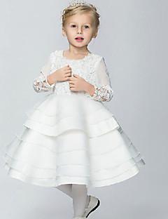 Tanssiaisasu/Prinsessa Puuvilla/Organza/Tafti Flower Girl Dress - 3/4 hihanpituus - Polvipituinen