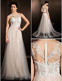 Lanting narzeczonej-line wątła / puszystych Pociąg suknia ślubna-sąd klejnot koronki / tiulu