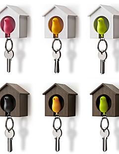 Casa de pássaro chaveiro de armazenamento rack de parede ninho gancho apito chaveiro organizador titular cor aleatória