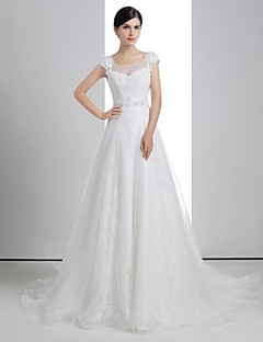 A-line Wedding Dress - White Chapel Train Scoop Lace/Linen/Tulle
