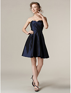 Lanting Bride® Short / Mini Taffeta Bridesmaid Dress - A-line / Princess Strapless Plus Size / Petite with Criss Cross