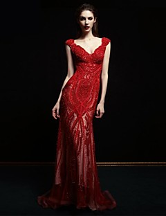 Formal Evening Dress - Ruby Petite Ball Gown Straps Sweep/Brush Train Lace / Tulle