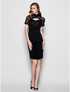 Sheath / Column Plus Size / Petite Mother of the Bride Dress Knee-length Short Sleeve Tulle / Jersey with Appliques / Beading / Ruching