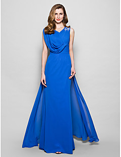 Brautmutterkleid - Königsblau Chiffon - A-Linie - bodenlang - Ärmellos