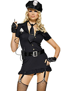 Sexy Girl Black Polyester Tight Dress Police Uniform Cosplay Costumes Party Costume Police Career Costumes Festival/Holiday Halloween Costumes