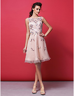 Homecoming Cocktail Party Dress - Pearl Pink A-line/Princess Bateau Knee-length Organza