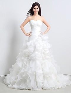 Hochzeitskleid - Weiß Organza - A-Linie - Bodenlänge - Herz-Ausschnitt