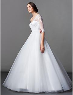 LAN 팅 라인 / 공주 웨딩 드레스 - 아이보리 바닥 길이 하나 어깨 얇은 명주 그물