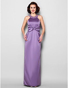 Sheath/Column Plus Sizes / Petite Mother of the Bride Dress - Lilac Floor-length Sleeveless Satin