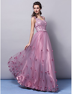 TS Couture Formal Evening Dress - Open Back A-line Princess V-neck Floor-length Tulle with Appliques Flower(s)