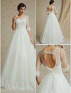 A-line Wedding Dress Court Train Straps