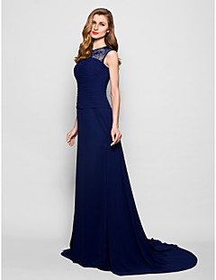 A-line Plus Sizes / Petite Mother of the Bride Dress - Dark Navy Court Train Sleeveless Georgette / Lace