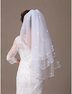 Three-tier Waist Length Bridal Wedding Veil  with Crystals Ribbon Edge and Comb Made of Soft Tulle
