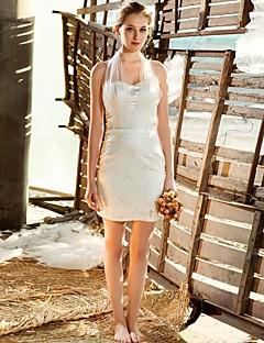 Sheath/Column Short/Mini  Wedding Dress -Halter Satin