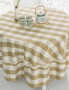 """carreaux beige table ronde de tissu avec crochet, polyester dia. (70 """"), 200cm (78"""")"""