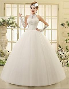 웨딩 드레스 볼 가운 발목 길이 홀터 튤