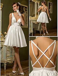 A-line Plus Sizes Wedding Dress - Ivory Short/Mini V-neck Stretch Satin