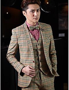 Tuxedos Tailored Fit Slim Notch One-Button Cotton/Polyester Checkered 3 Pieces khaki