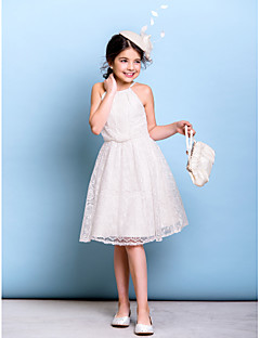Lanting Bride® Knee-length Lace Junior Bridesmaid Dress A-line Spaghetti Straps with