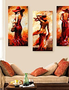 E-HOME® Stretched Canvas Art Woman Figure Decoration Painting  Set of 3