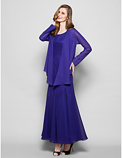 Lanting A-line Plus Sizes / Petite Mother of the Bride Dress - Regency Ankle-length Long Sleeve Chiffon