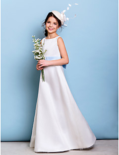 Floor-length Satin / Tulle Junior Bridesmaid Dress A-line Jewel with Bow(s) / Sash / Ribbon