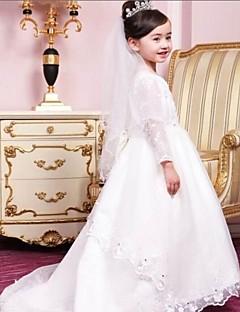 Prinses Vloer Lengte Bloemenmeisje jurk - Katoen/Organza/Taf 3/4-length Mouw