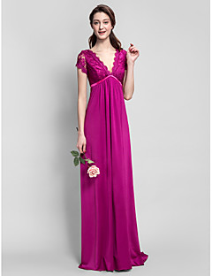 Floor-length Jersey Bridesmaid Dress - Fuchsia Plus Sizes / Petite Sheath/Column V-neck