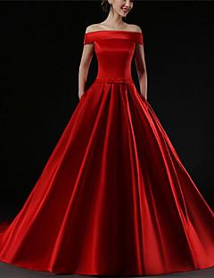 저녁 정장파티 드레스 - 루비 A라인 쿼트 트레인 오프 더 숄더 사틴