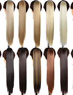 Claw Clip Drawstring Synthetic 24 Inch Long Straight Ponytail