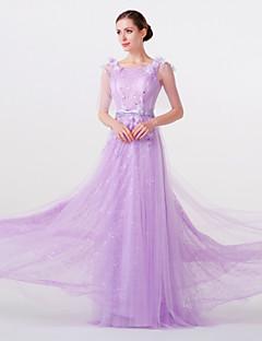 Formal Evening Dress - Lilac Sheath/Column Jewel Floor-length Lace/Tulle/Stretch Satin